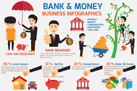 take care: bank and money infographics element. bank take care and assistance your business. business concept illustration.