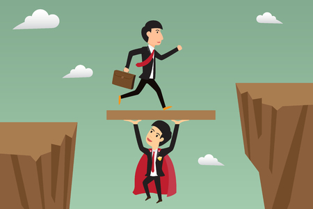 through: businessman jump through the gap supported by super businessman. illustration.