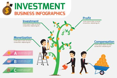 investment concept: Investment is like planting trees. Investment Concept Infographics. vector illustration. Illustration