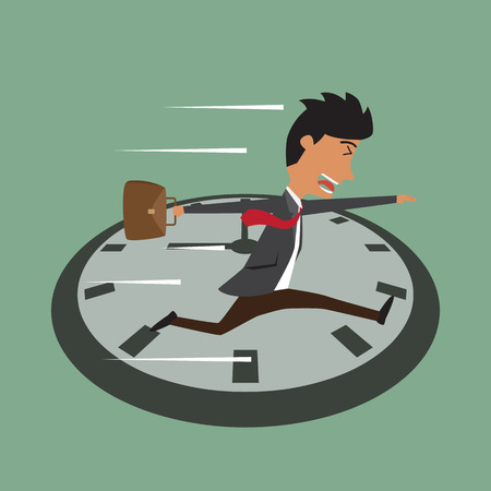 salesperson: Cartoon businessman running on clock, Jumps over time, Rush hour