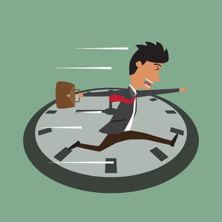 Empresario de dibujos animados que se ejecutan en el reloj, saltos en el tiempo, la hora punta
