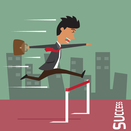 hurdle: Businessman run with jumping over hurdle, business competition and success concept vector