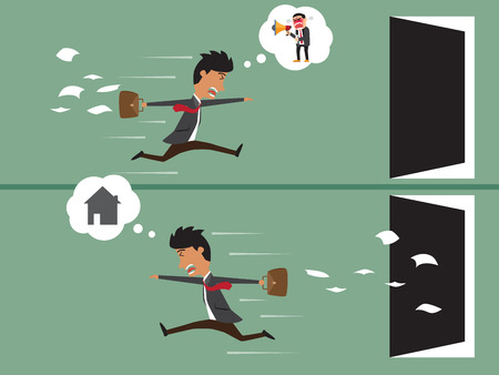 work home: business man work up late with Business man go home after work, business concept vector illustration.