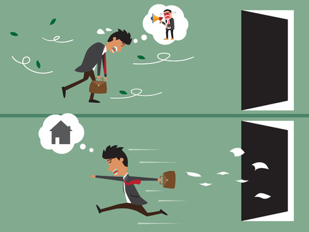 unsuccess: Cartoon business man very tired go to work and cartoon business happy go to home after work. vector illustration.