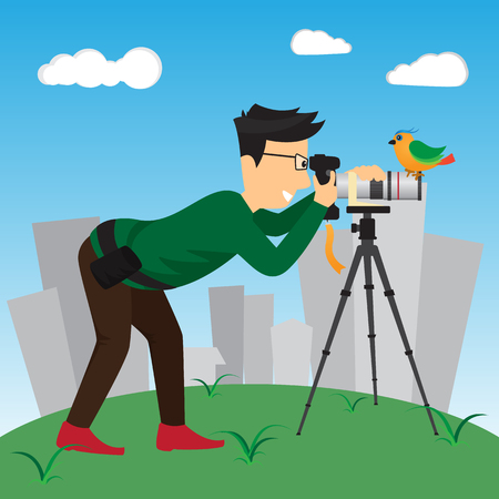 Wildlife Photographer. vector illustration.