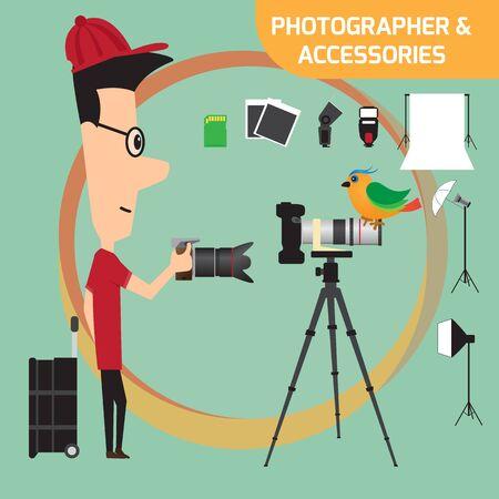 lighting equipment: Professional photographer with camera and photo studio lighting equipment. Flat style vector illustration.
