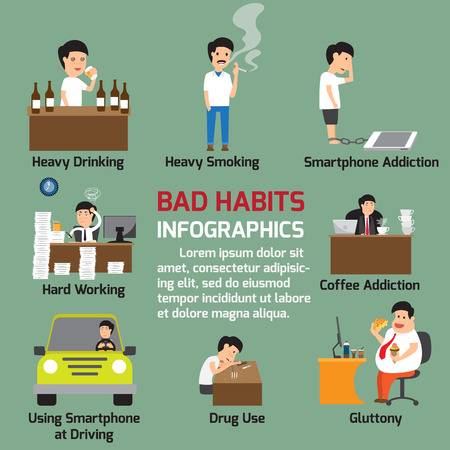 sedentary: Popular bad habits infographics elements. Illustration