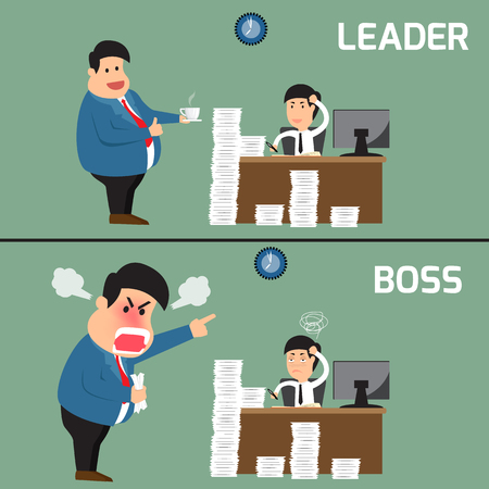 leadership key: Difference between boss and leader. Boss help employee for working to success, Boss shouts to employee in work fatigue, Leadership business concept, Vector illustration. Illustration