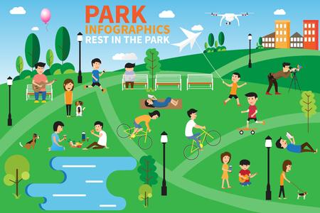 El descanso en los elementos del parque de infografía, las personas que tienen actividades en el parque, ilustración vectorial.