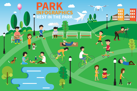 Rest in the park infographics elements, people having activities in the park, vector illustration.