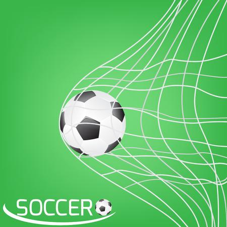 goal net: soccer ball or football in the goal net. football on green background with goal net Illustration