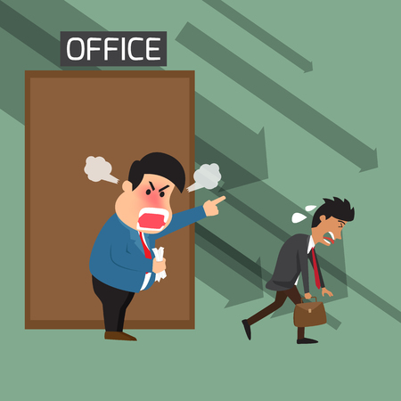 shouting: Angry boss shouting to employee at office