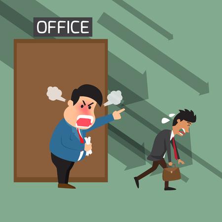 Boze baas schreeuwen naar medewerkers op het kantoor Vector Illustratie