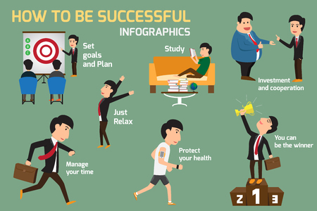principles: Set of successful business man habits, Infographic with principles of successful business people and various poses with many gestures. Illustration