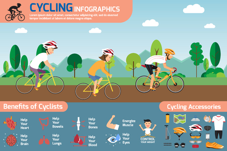 bicycling: Cycling info-graphics. concept cycling with smiling cartoon man and woman riding on a bike with set of flat icons about bicycling and benefit of cyclists illustration.
