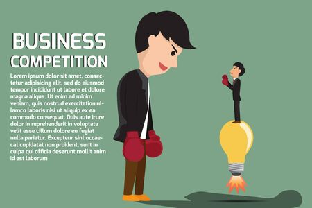 small business: Businessman boxing against a giant business man between small business and Big business but small business using idea for battle . Business competition concept cartoon illustration. Illustration