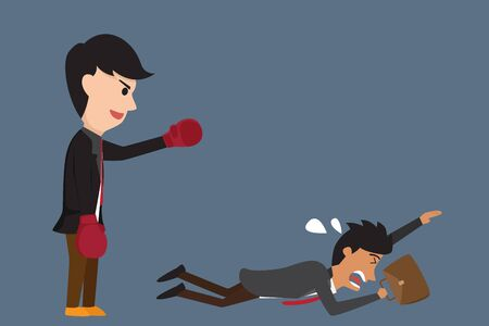 flee: Businessman boxing against a giant business man between small business and Big business but small business being flee from the fighting . Business competition concept cartoon illustration.