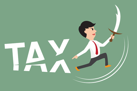 deductions: business man using sword cut tax. free tax and pay tax concept illustration. Illustration