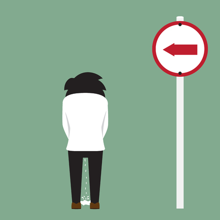 urinate: peeing man on roadside, illustration