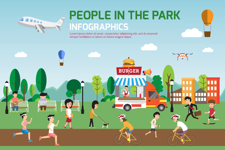 Rest in the park info graphic elements flat design. People spend time relaxing and various activities in nature that have food truck. illustration.