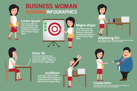 sleepy woman: Business woman at work infographics. businesswomen or office person daily working in workplace and happy with his work.
