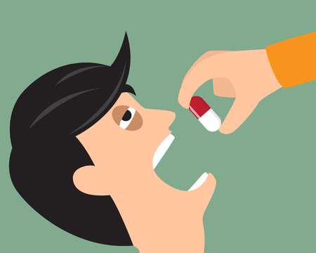 Take your medicine concept. Person puts tablet in mouth. Illustration