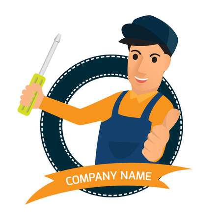 machinist: professional creative character graphic icon design for service, illustration.
