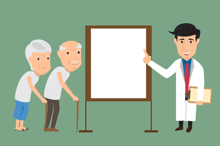 attentive: Doctor explaining about treatment to attentive senior couple. vector illustration. Illustration