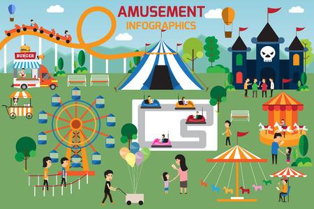 parque de atracciones elementos infográficos diseño vectorial plana. La gente gasta tiempo de relax en la naturaleza con los padres y los niños están caminando en el parque. ilustración vectorial.