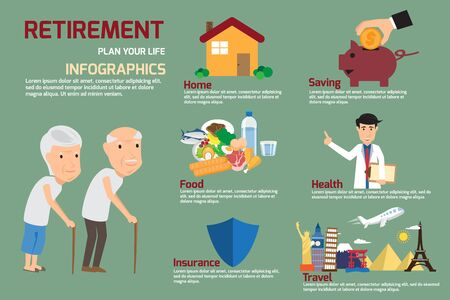 retire: Retirement infographic with old people and icon elements. retirement man and women plan his life to retire. vector illustration.