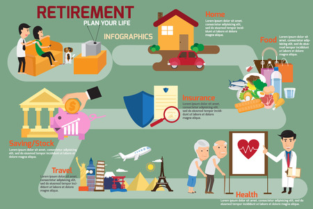 retire: Retirement infographic with old people and set elements. man and women plan his life to retire. vector illustration.