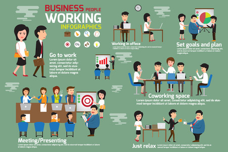 Business people working infographics elements. Story business man and woman working in office with many activities. meeting, coworking, presenting, set goal and planing for success. vector illustration.