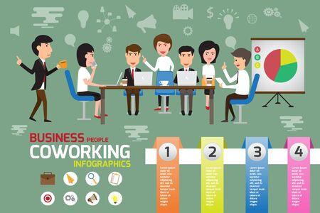 elementos de coworking infografía, hombre de negocios y mujer que trabaja en la oficina con el concepto de equipo creativo. ilustración vectorial. Ilustración de vector