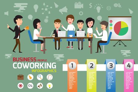 Coworking infographics elements, business man and woman working in office with creative team concept. vector illustration.