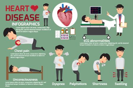 Maladie Infographies. Les symptômes de la maladie cardiaque et la douleur aiguë coeur attaque possible. Détail de l'homme dans la maladie des symptômes cardiaques et la prévention. illustrations vectorielles.