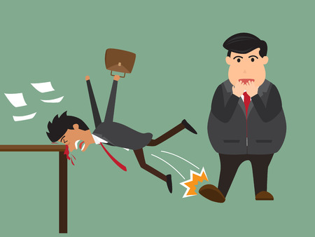 Business man put his foot to trim his leg workmate up. business competition concept in conflict or attack. vector illustration.