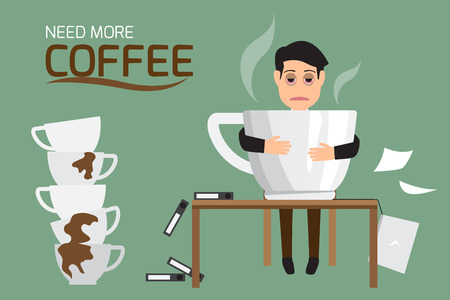 severe: Businessman tired and lazy drink coffee because of drowsiness need relax and need more big coffee cup. (suffer from severe dysentery), Coffee addiction. vector illustration.