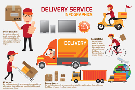 Delivery service infographics elements. Detail of people in uniform with set delivery service job character icons flat style with objects. vector illustration. Vettoriali