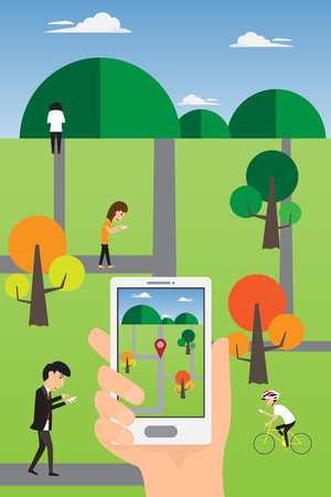 geolocation: People hand using a smart phone to play an online geolocation game in the park. Play a mobile game using location information. vector illustration. Illustration
