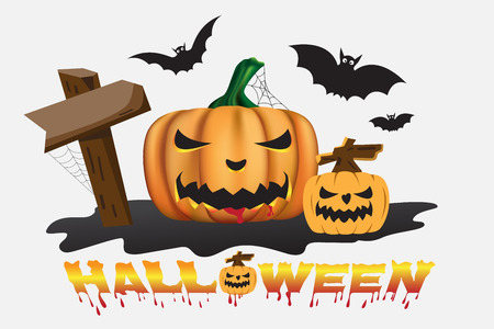 Halloween background with scary pumpkins. vector illustration.