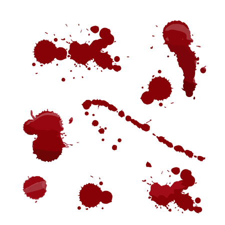 Set of various blood or paint splatters in halloween day on white background, Vector different blood splashes, drops and trail.  vector illustration. Vectores