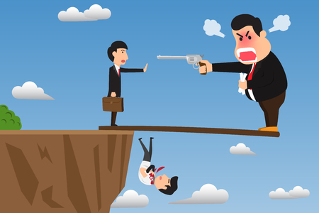 Boss stand on wood overhanging from escarpment cliff with angry using gun intimidate his employee. Vector cartoon illustration on foolish action to self-sabotage concept. Illustration
