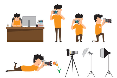 Set of cartoon photographer in various pose. professional photographer using camera in various pose. vector illustration.