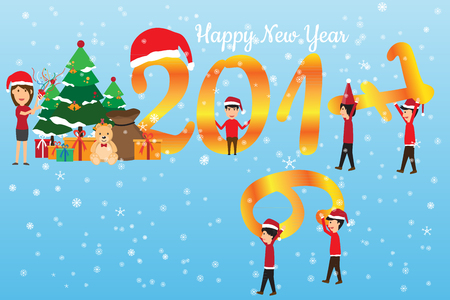 happy new year concept. man change the number 2016 are 2017 and celebration that have the gifts, vector illustration.