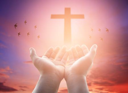 Las manos humanas abierta palma hacia arriba culto. Terapia Eucaristía bendice la ayuda de Dios, arrepiéntete Católica Pascua Mente Cuaresma Ore. Cristiano concepto de fondo. Foto de archivo - 69792208