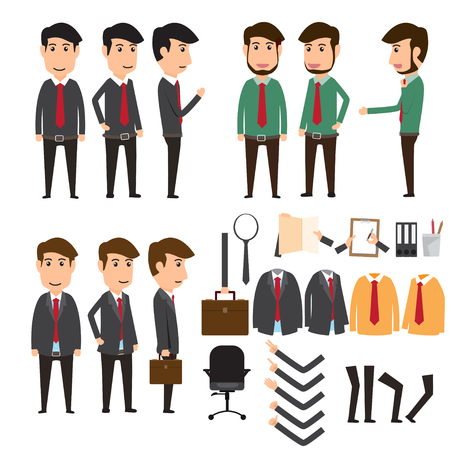 apparel part: Businessman character creation set in various pose. business concept vector illustration. Illustration