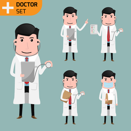 Smart doctor presenting in various poses.  doctor and health care concept. vector illustration