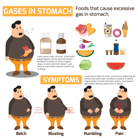 Gases in stomach infographics health concept. symptoms and treatments for gases in stomach and food avoid. vector illustration. Illustration