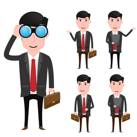 executive assistants: Character of business man vector illustration.
