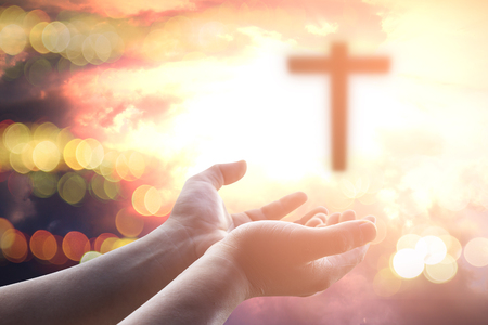 Human hands open palm up worship. Eucharist Therapy Bless God Helping Repent Catholic Easter Lent Mind Pray. Christian worship concept background. Stock Photo